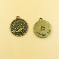 Free shipping 50 pieces Capricornus sign Antiqued bronze Zodiac charms  Capricorn constellations Metal sign diy pendant