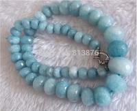 new free shipping 8-20mm Elegant Brazilian Aquamarine Faceted Jasper Beads Necklace 17'