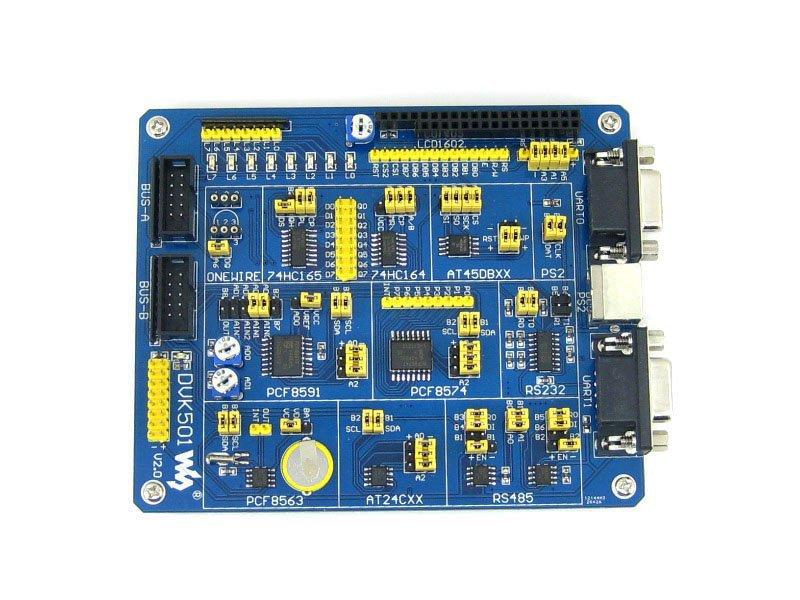 ATMEL AVR Development Board Expansion board DVK501 MCU PCF8563 DS18B20 MAX3232 PS/2 MAX485 LED for AVR Atmega Series MCUs(China (Mainland))