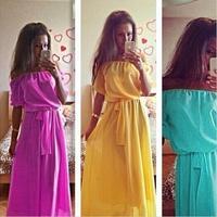 Vestidos High Quality Summer Dress 2015 Plus Size Women Clothing Long Dress Bohemian Chiffon Women Maxi Dress vestido de festa
