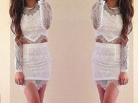 vestidos 2015 women dress high-grade long-sleeved black and white lace two-piece dress summer dress vestido de festa