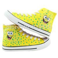 Baby Cartoon Despicable Me Minions Pattern Joker Canvas Kids Children Sneakers Sneaker High Hand-painted Shoes Parent-child Shoe
