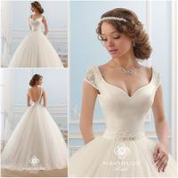 Custom Made Vestido de Noiva Curto Vestidos de Noiva Ball Gown Sexy Backless Wedding Dress 2015 Robe de Mariage Free Shipping