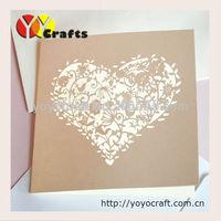 INC045--- Laser cutting birds invitation, heart shaped white/cream wedding invitation card with hearts