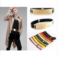 2015 Elastic Mirror Metal Waist Ceinture Metallic Bling Gold Cintos Plate Wide Belts for Women Female Accessories Women's belt
