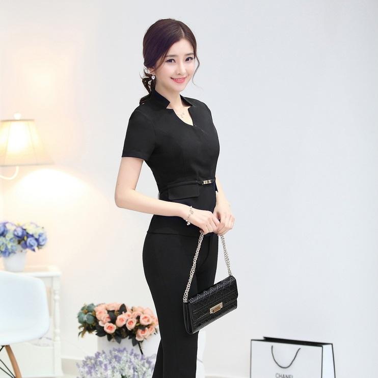 New 2015 Spring Summer Women Pants Suits 2 Piece Set Plus Size Trouser Suit Ladies Women Jacket and Pants S- XXXL Office Uniform(China (Mainland))
