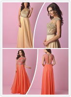 Bewitching Beading Bodice Floor length Illusion Boat Neck Keyhole Back A-line Champagne Coral Chiffon Evening Dress Prom Gown