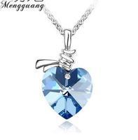 2015 New Arrival Zinc Alloy Women Heart Pendant Necklaces Trendy Silver Link Chain Austria Crystal Necklace