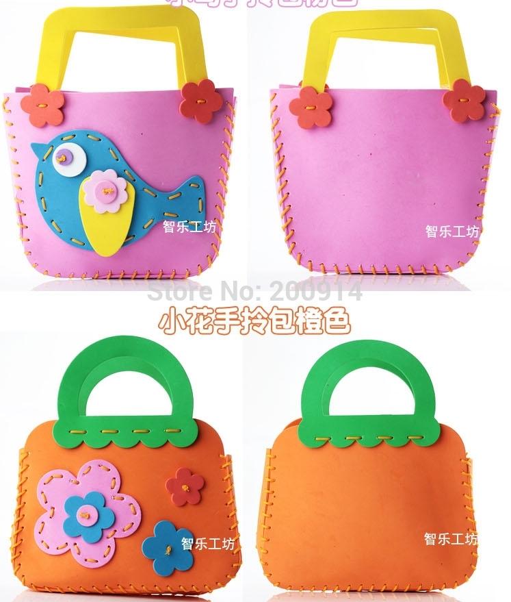 16 designs/lot DIY handbag Kids Handmade toy shoulder bag DIY 3D EVA foam Puzzle EVA Craft Kits Educational Toys(China (Mainland))
