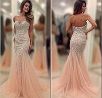Custom Made Long Prom Dresses 2015 Mermaid Floor-Length Court Train Sleeveless Sexy Sweetheart Beading Champange Evening Gowns