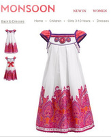 Newest2015summer European brand designer girls dress with beading.kids casual national vest dresses with sashes.children clothes