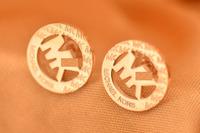 The new licensing round earrings female Korean alphabet rose gold earring