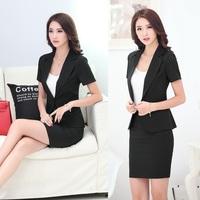 Summer Fashion Blazer Women Skirt Suits Jacket and Blazer Sets Slim Female Ladies Office Uniform Styles Work Wear Clothes