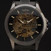2015 New Classic winner brand men skeleton Automatic Mechanical  full steel Band Casual Fashion luxury male wristwatch relogio