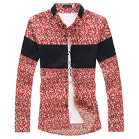 M to 5XL 2015 Spring Summer Male Fashion Cotton Floral Shirt Turn-down Collar Men's Dress Clothing High Quality Hot Sell Brand