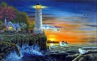 Diy Diamond painting set  Sunset at Lighthouse-- 40x25cm square diamond painting sets handwork diy picture not finished