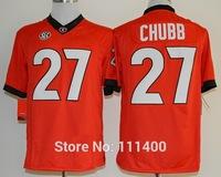 Free Shipping NCAA Georgia Bulldogs #27 Nick Chubb Red College football jersey Embroidery logos size M L XL XXL XXXL
