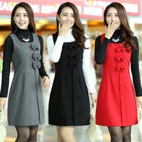 Slim 2014 woolen tank dress autumn and winter sleeveless basic plus size clothing vest one-piece dress