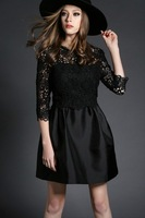 Free shipping 2015 spring and summer fashion women embroidery slim cutout black dress t2833 casual dress wholesale va2054