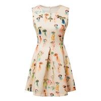 Spring Summer 2015 Sleeveless Print Dresses Beading O Neck Women Tank Ball Gown Dresses Pleated Mini Sweet Vestidos Femininas