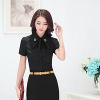 Fashion Summer Black Shirts Women Blouses Short Sleeve Female Tops Formal Ladies Office Uniform Shirts OL Work Wear