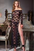 Hot Sexy Mesh Floral Lace Night Dressing Gown Set Sleepwear Long Nightgown Dress Black Lingerie Dress G-string Nightie Nightwear