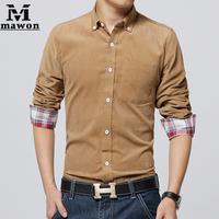 плюс размер 5xl мужчин случайный рубашки Вельвет Лоскутное платье с длинными рукавами рубашки британского стиля slim fit социальной рубашки mc149