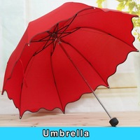 NEW Princess folding vaulted falbala creative specular color lovely uv prevent bask in the sun umbrella