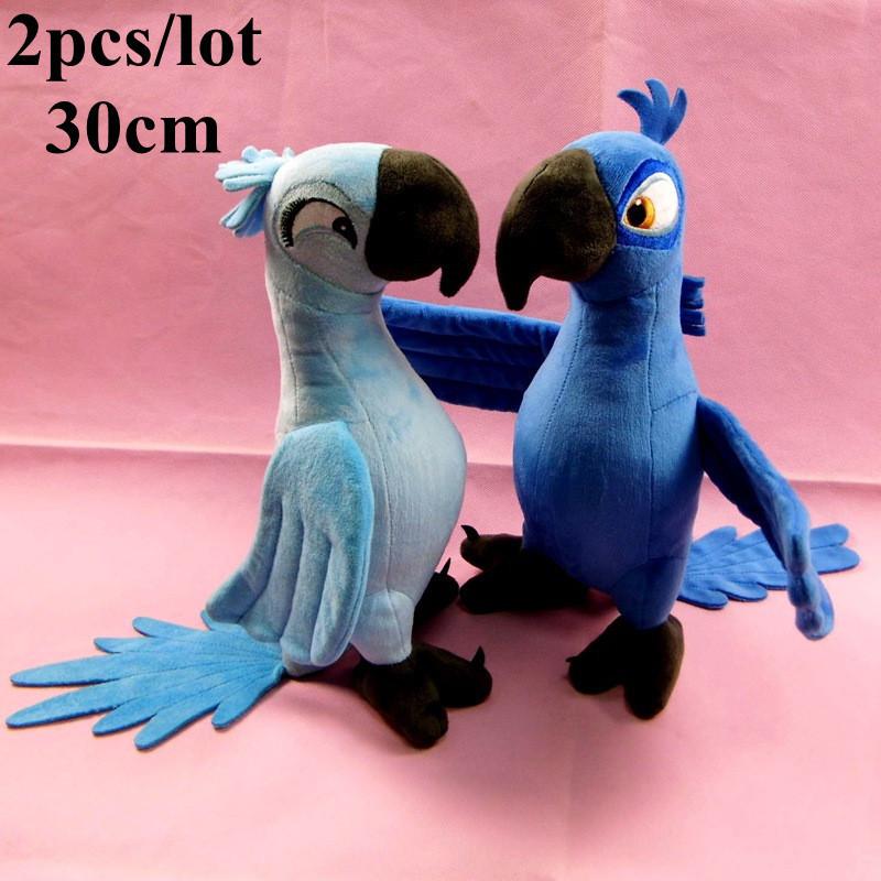 2Pcs/lot New 30cm Blue Parrot Rio 2 Movie Cartoon Plush Toys Dolls Bird Gifts For Boys/Girls/Baby Brinquedos(China (Mainland))