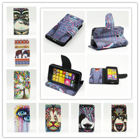 New Animal Head Style PU Leather Wallet Stand Phone Cases TPU Cover With Card Holder Phone Cases Covers For Nokia Lumia 530 N530