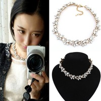 Crystal Silver/Gold Flower Pendant Statement Bib Chunky Charm Choker Necklace