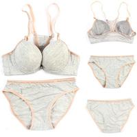 Women Push Up Bra Set Girl 100% Cotton Underwear Set Underwire Brassiere Outfit