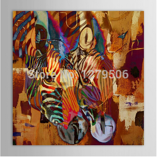 100% Handpainted Modern Art Wall Picture Zebra Couple Animal Painting Home Decor Abstraction Hang Picture Knife Oil Paintings(China (Mainland))