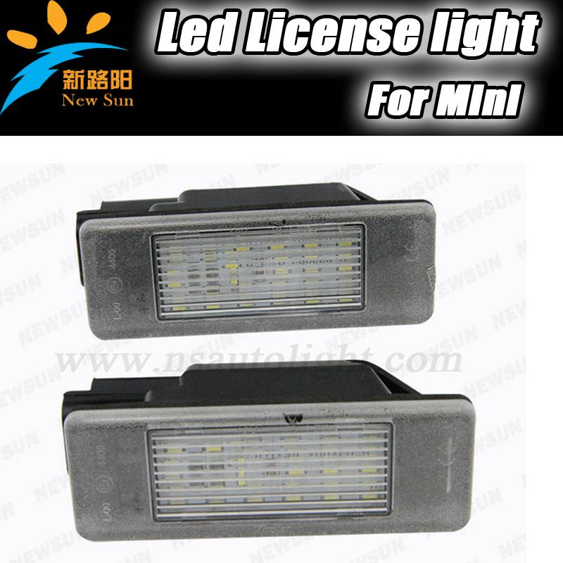 2pcs error free mini led license plate light 12V 7000K Xenon car tail license light for Mini 106 3D 5D 508 4D 5D 607 4D 207 2D(China (Mainland))