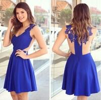 dress 2015 vestidos women dress new elegant blue V-neck Slim thin gauze applique chiffon dress party dresses vestido de festa