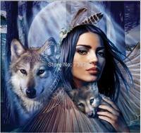 Diy Diamond painting set  WOLF GIRL-- 40x37cm square diamond painting sets handwork diy picture not finished