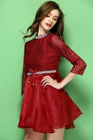 Free shipping high quality 2015 women's spring and summer handmade beading cutout sweep t1403 casual dress wholesale va2053