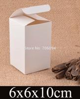 6*6*10cm Cosmetic/Jewerly white paper box 2.4''*2.4''*3.9'' handmade gift boxes,Essential oil box,custom box logo 100pcs/lot