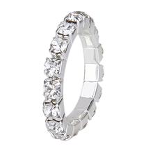 2015 3 pcs Elastic Silver Tone single row rhinestone toe ring 3mm