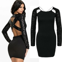 2015 spring  vestio de festa women sexy criss cross open back sequined bodycon party club mini dress