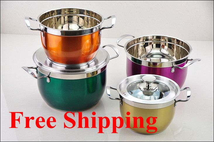Free shipping Hot Selling Colorful 8PC Of Color Coating Stainless Steel Cookware Set With Capsule Bottom Soup pot set(China (Mainland))
