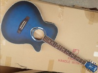 blue color 40inch thin body acoustic-electric guitar free shipping free string