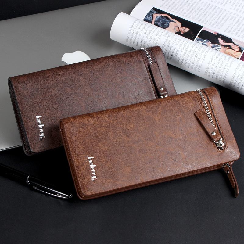 Brand men s business casual long wallet zipper versatile clutch bag men solid high grade PU