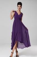2015 New Summer Purple Dress Retro Fashion Waist Chiffon Dress Women Dress Vestidos Femininos Robe Violette Long Dress S-XL 217