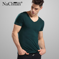 Summer New V-Neck T-shirt Men Tops Cotton High quality T-shirt Pure color Fashion leisure sports Shirt Multicolor Free shipping