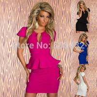 Free Shipping 2015 Top Quality  Women Lady Sexy Fashion U-neck OL Peplum Dress Party Bodycon Dresses Black Blue Pink White M8945