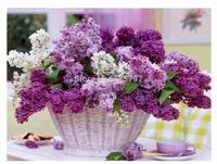 Diy Diamond painting set  purple flowerq--50x40cm square diamond painting sets handwork diy picture not finished