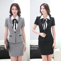 Summer Fashion Gray Blazer Women Skirts Suits Jacket Sets Slim Ladies Business Suits Beauty Salon Office Uniform Styles