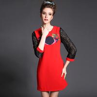Lace Sleeve Embroidery Flower Women Dress Plus Size Clothing Red Black Shift 2015 Vintage Vestidos 3xl 4xl 5xl #BL-1555