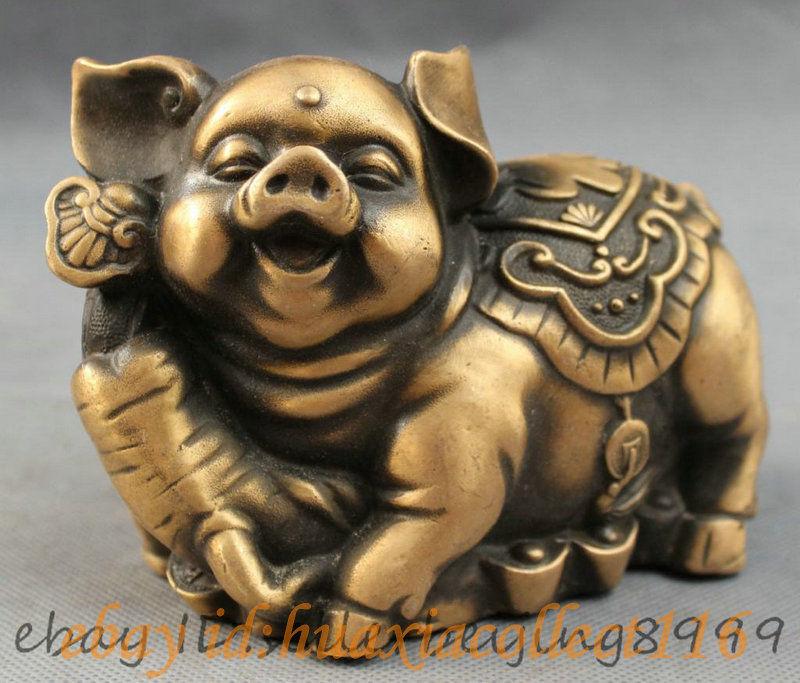 Folk Chinese Bronze Wealth YuanBao RuYi Happy Fu Pig Statue Animals Figurine(China (Mainland))